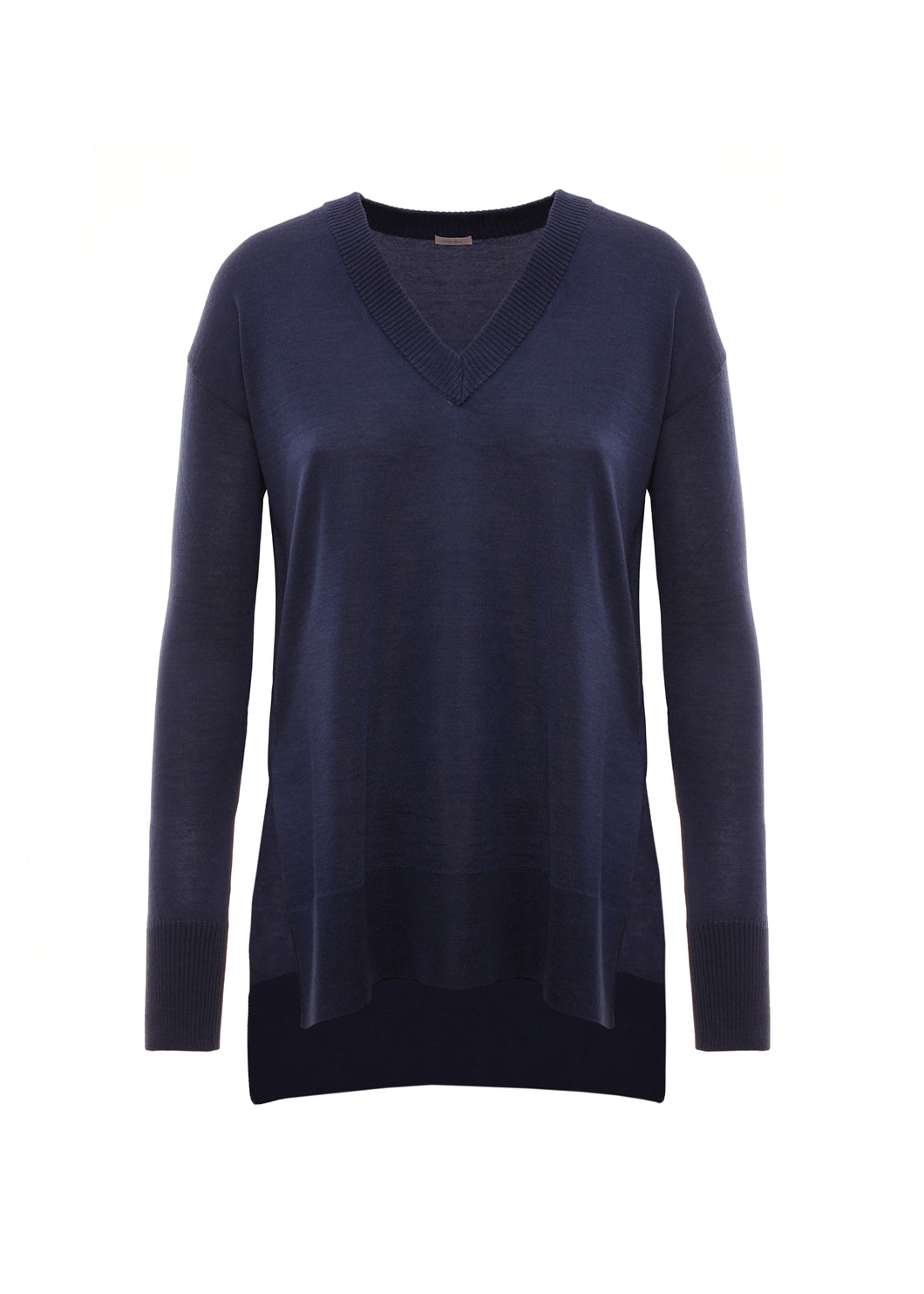 Shaved v neck in cashmere-silk