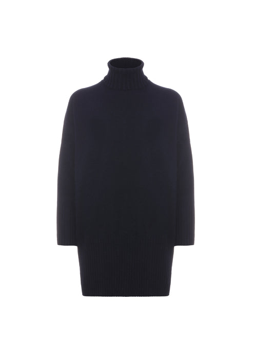 Navy Blue over turtleneck sweater