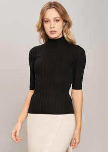 Ribbed turtleneck in pure cashmere