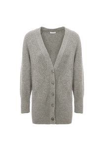 Cardigan in cashmere and wool