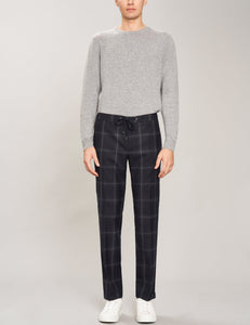 Wool square texture pants