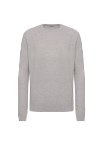 Cashmere half english rib crewneck sweater