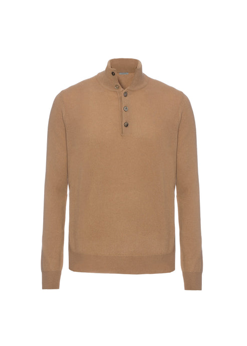 Camel mockneck sweater with buttons