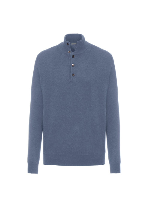 Sky blue mockneck sweater with buttons