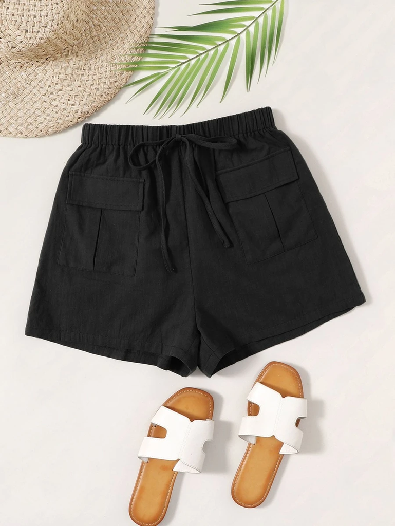 Knot Waist Flap Pocket Patched Shorts