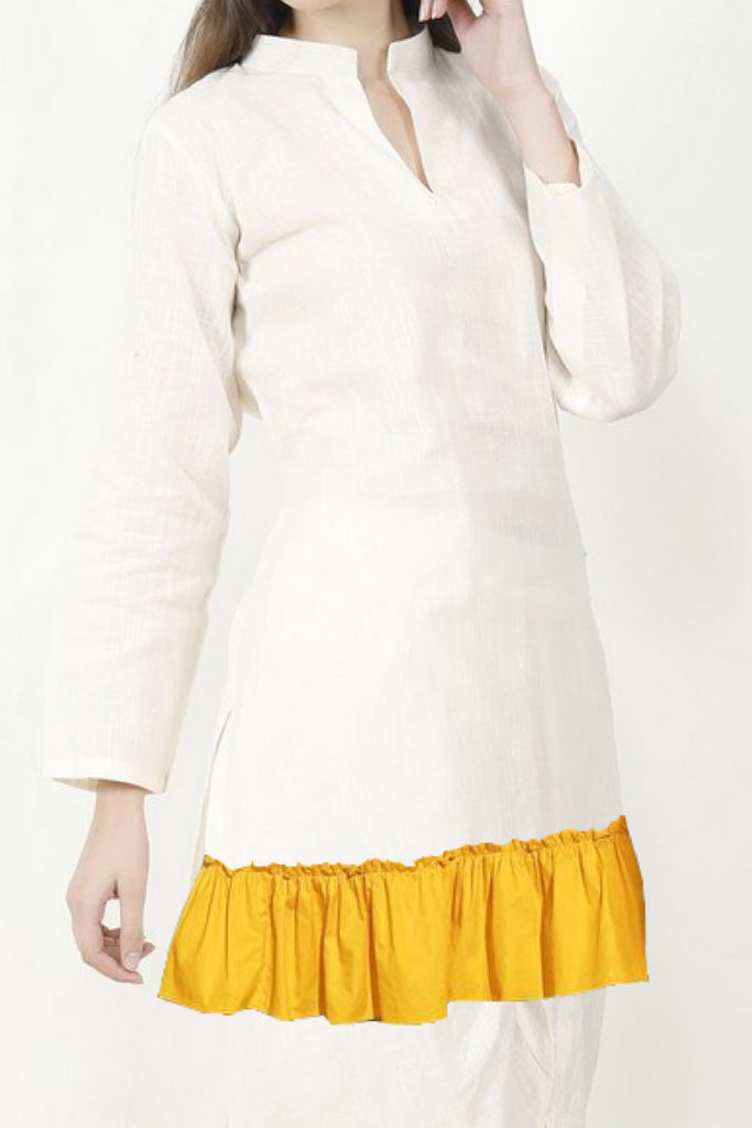 Arushi White Smart Ethnic Top