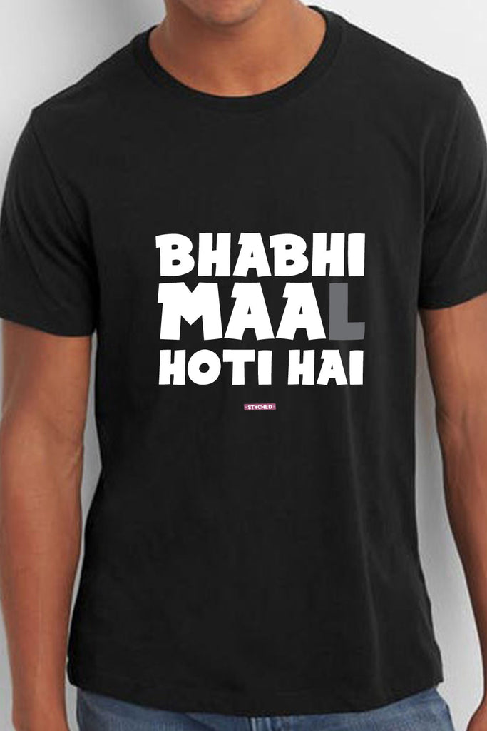 Bhabhi Maa(L) Hoti hai - Quirky Graphic T-Shirt Black Color