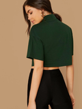 Boxy dark green crop top