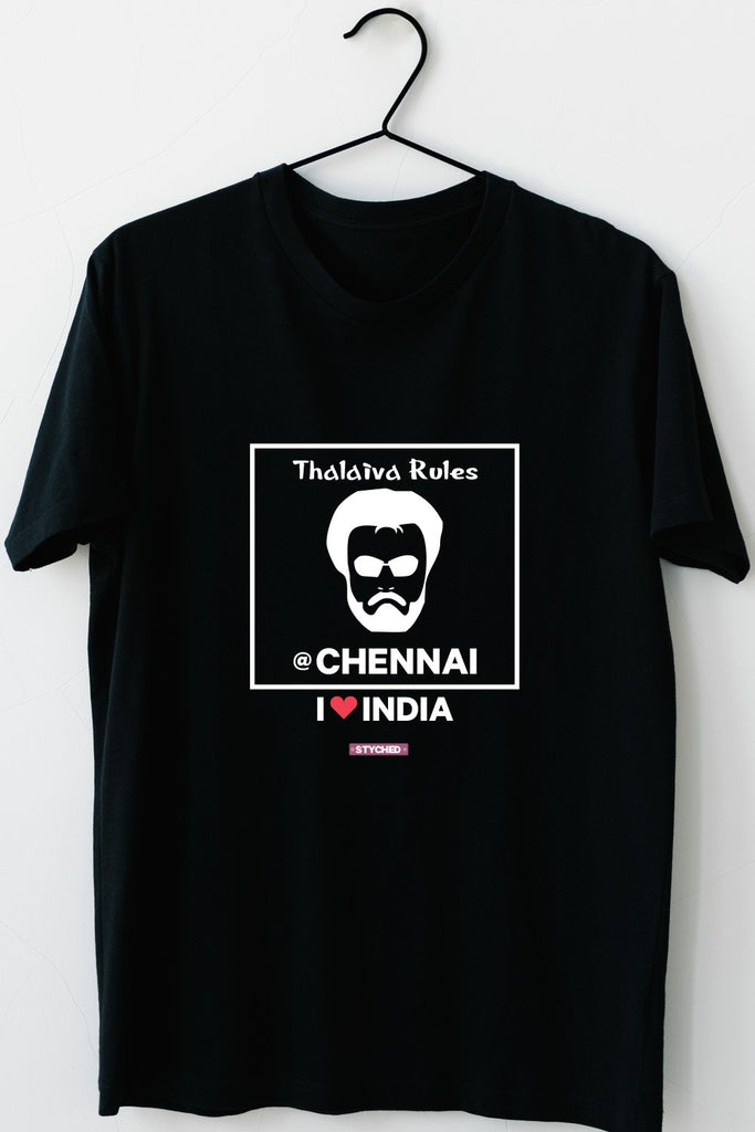 Chennai Thalaiva - Styched in India Graphic T-Shirt Black Color