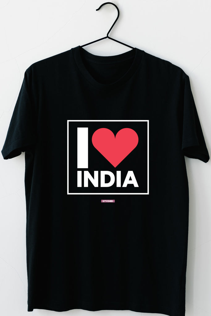 I love India - Styched in India Graphic T-Shirt Black Color