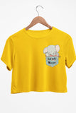 Little Giant Graphic Printed Yellow Crop Top