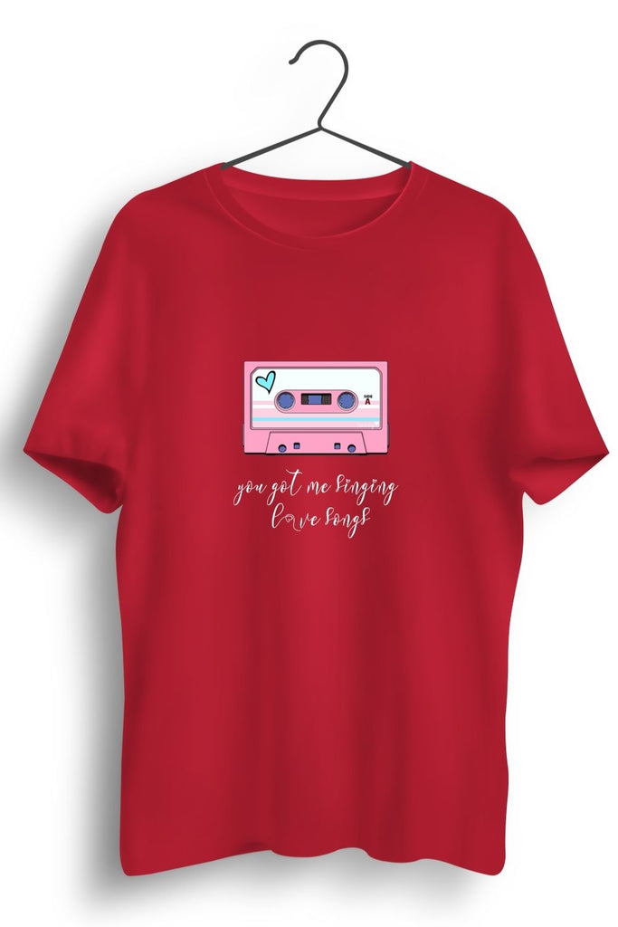 Love Song Graphic Printed Red Tshirt