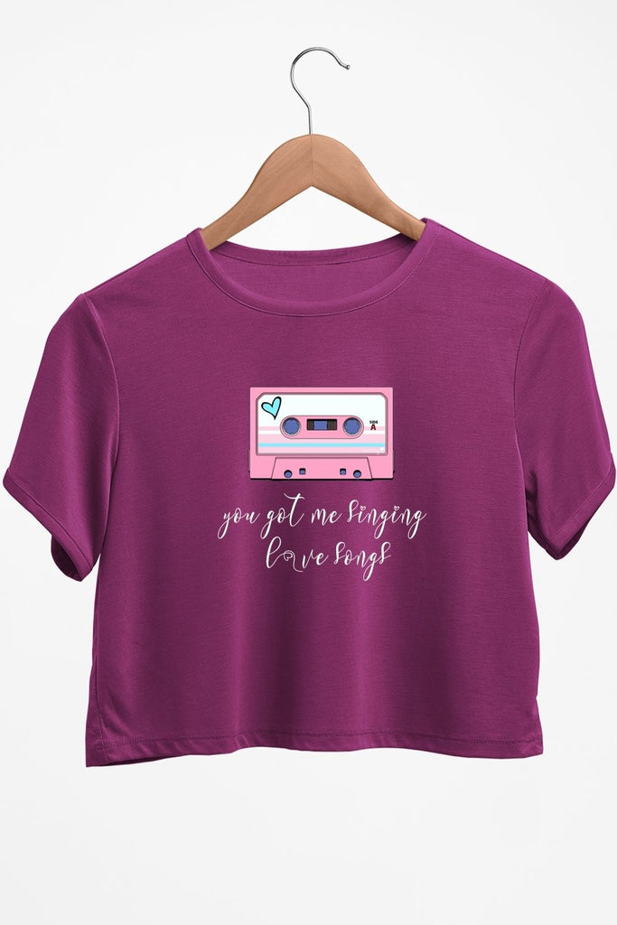 Love Songs Graphic Printed Purple Crop Top