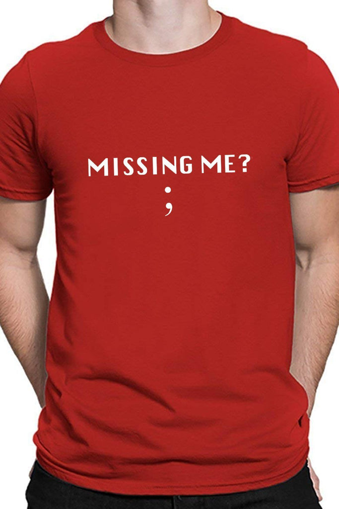 Missing Me - Semicolon - Coders And Developers Quirky Tee Red Color