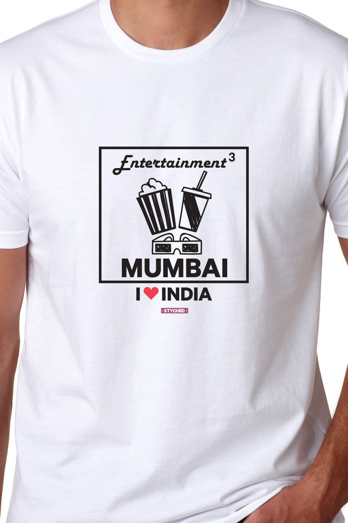 I love Mumbai - Styched in India Graphic T-Shirt White Color