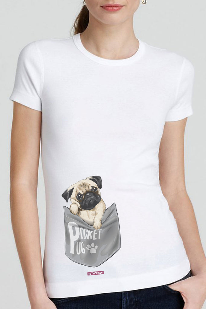 Pocket Pug - Quirky Graphic T-Shirt White Color