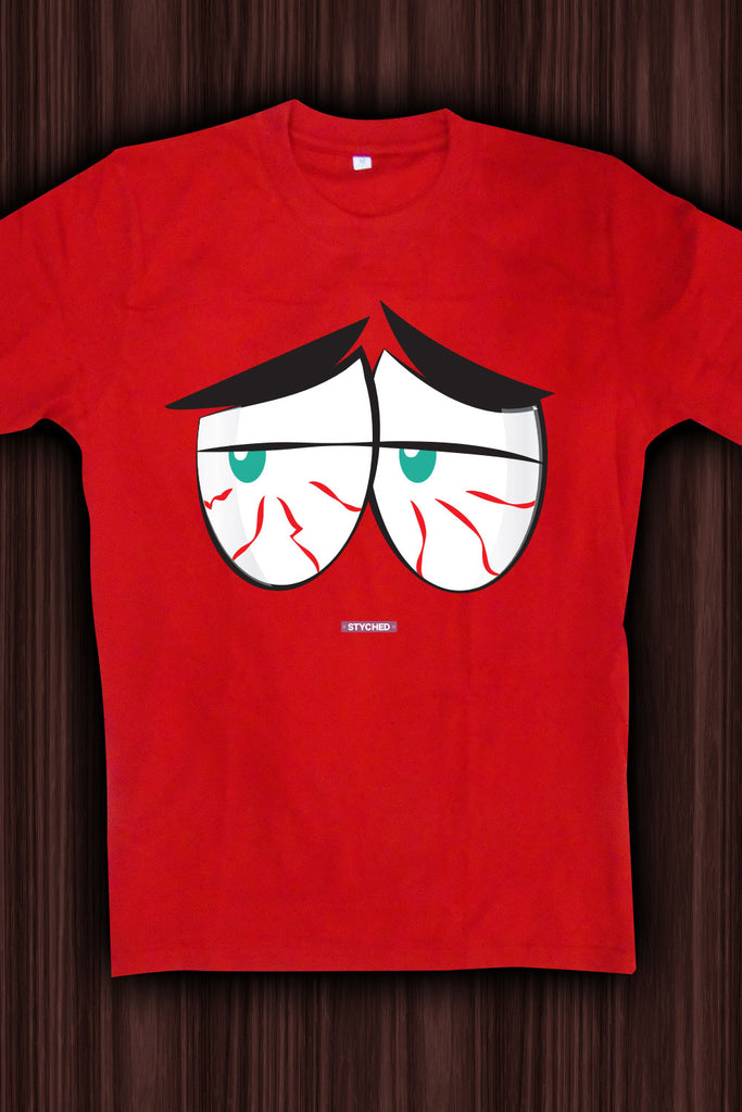 Sleepy Soul, Tired Red Eyes - Quirky Graphic T-Shirt Red Color