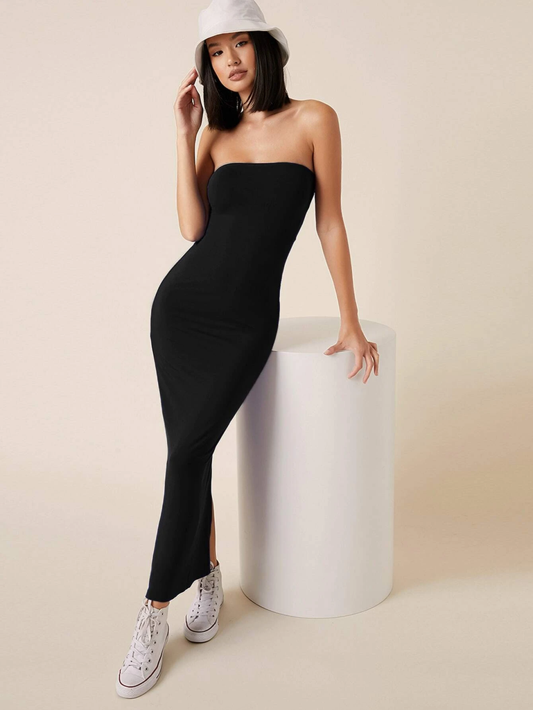 Solid Bodycon Maxi Black Dress