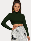 Turtle Neck Dark Green Crop Tee