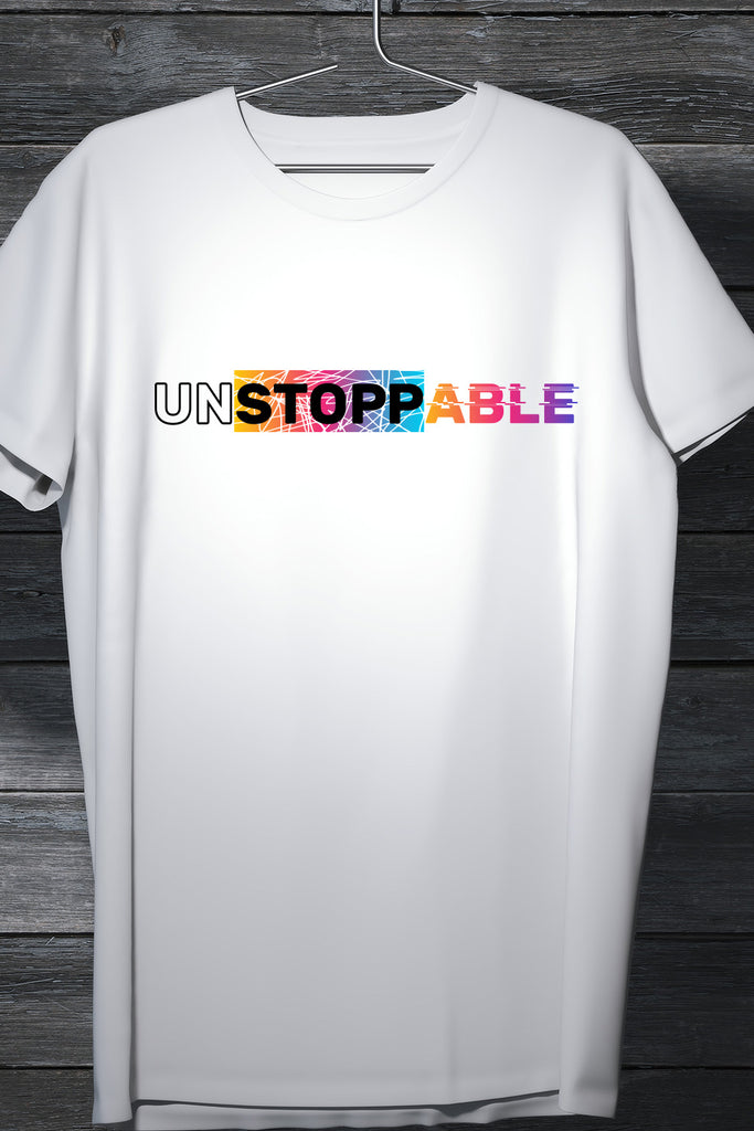 Unstoppable Minimalistic Colored patch white Tee Casual