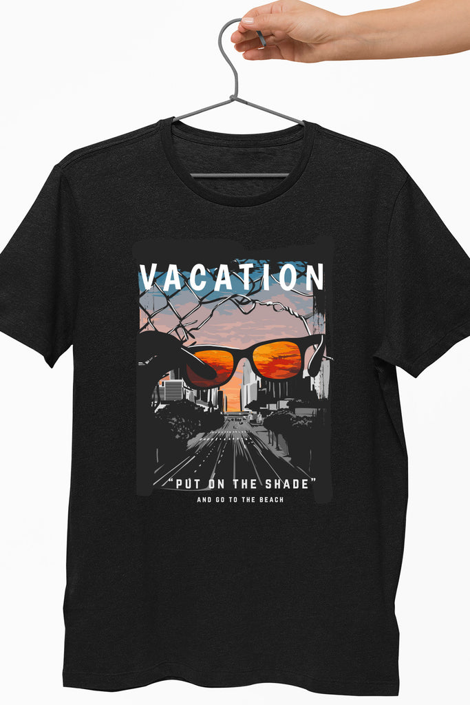 Vacation Graphic T-Shirt Black Color