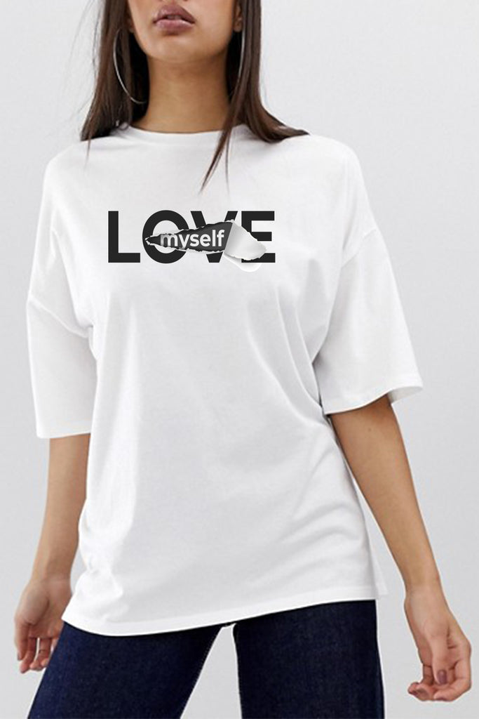 Love Myself Graphic Printed Oversized White Tshirt