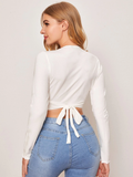 Wrap Front Crop Top White
