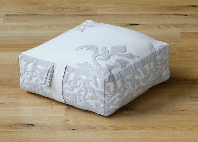 Medini Meditation Cushion - Cotton & Velvet Appliqué with Buckwheat Hull Fill