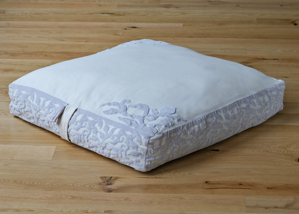 Megha Cotton and Velvet Applique Floor Cushion Ivory Recycled Denim Fill