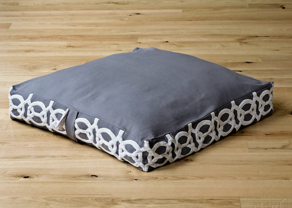 Megha Cotton and Velvet Applique Floor Cushion Charcoal Recycled Denim Fill