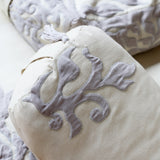 Cotton and Velvet Applique Ivory & Gray Bolster Recycled Denim Fill