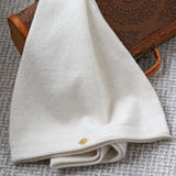 Bell Arm Sleeves Cashmere & Silk In Ivory with gold Yogamere Charm