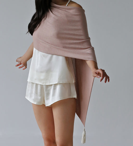 Atma Prema Cashmere & Silk Poncho in Blush Smoke
