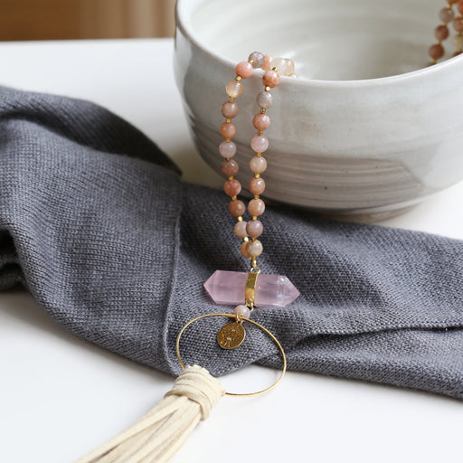 Sunstone Beaded Necklace with Rose Quartz Crystal & Faux Suede Tassel