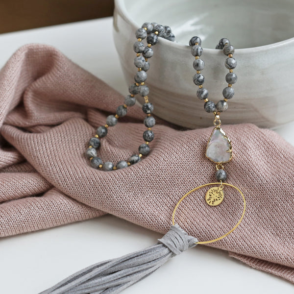 Grey Jasper Beaded Necklace with Mother of Pearl Pendant & Faux Suede Tassel