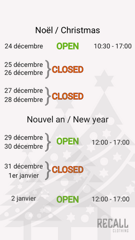 Recall Clothing | Geneva | End of year hours
