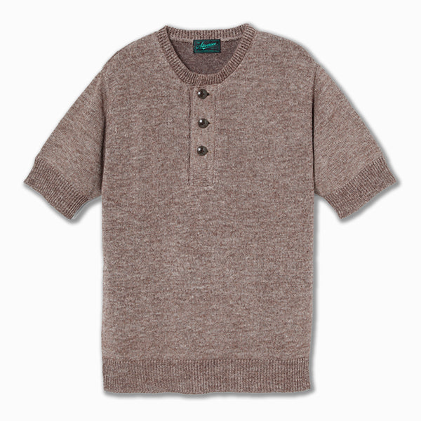 Linen Blended Short Sleeve Henley