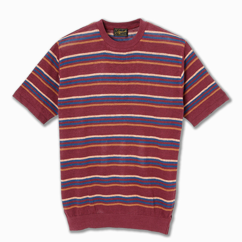 Classic Bordered T-Shirt in Burgundy