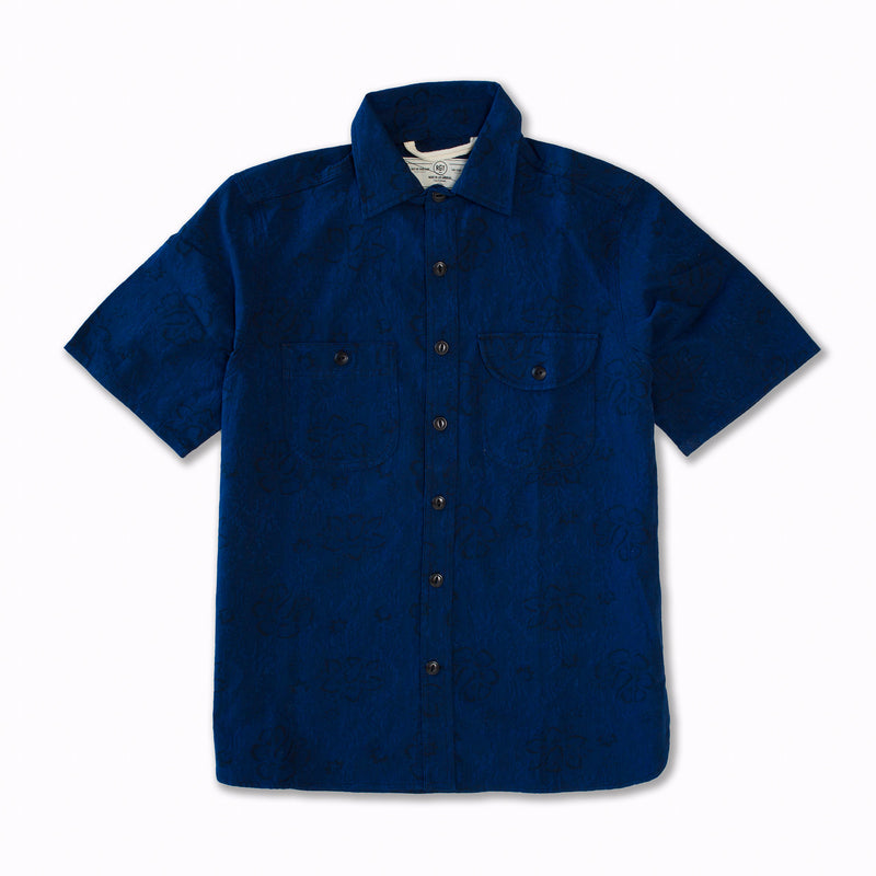 Short Sleeve Oxford Work Shirt in Blue Floral Jacquard