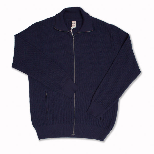 Zip jacket in blue merino wool