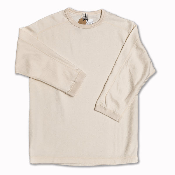 Twill Face knit crewneck quarter sleeve in vintage ivory