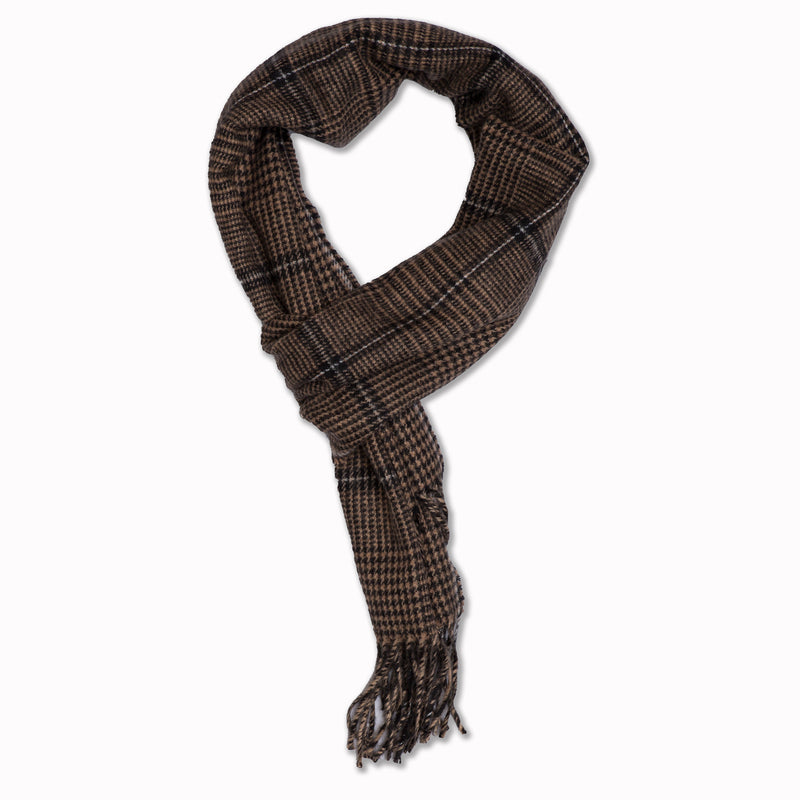 Scarf in brown / black plaid houndstooth