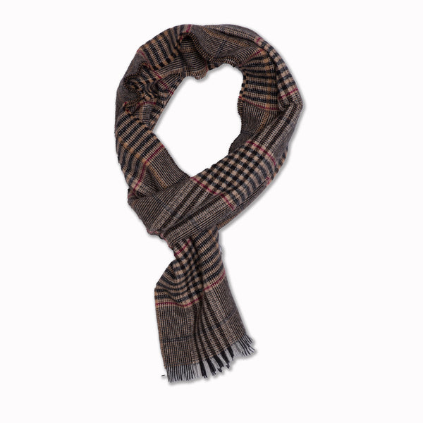 Scarf in black / beige plaid