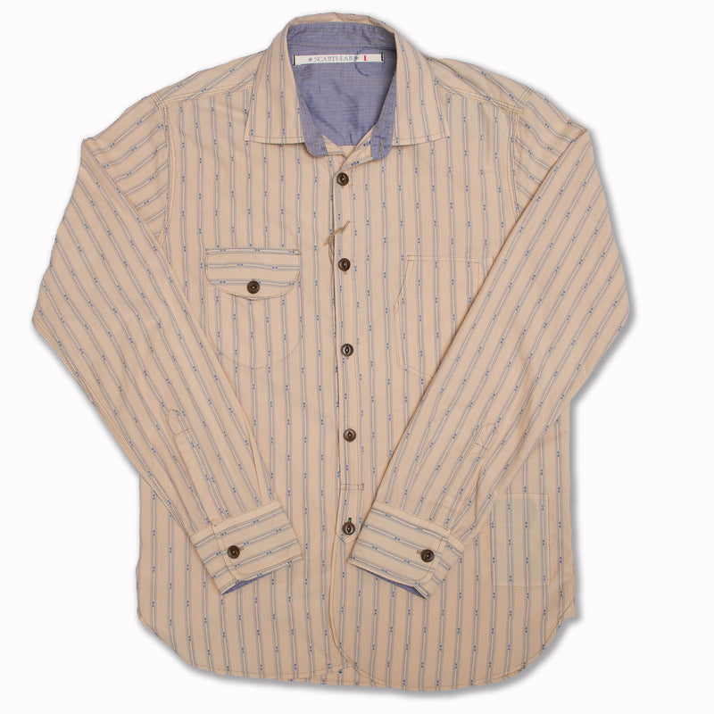 Cotton shirt in off-white and blue stripes