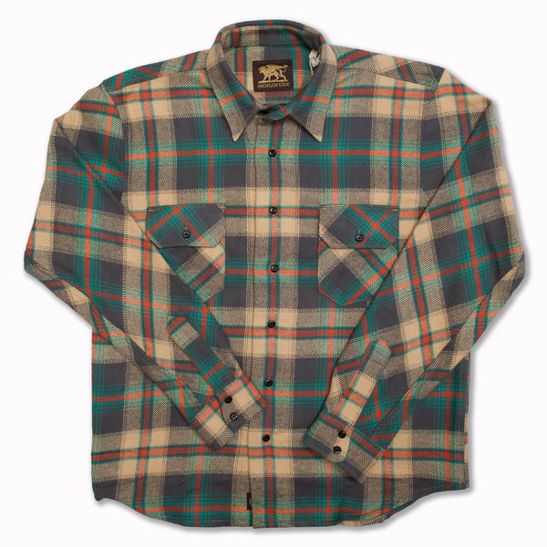Bryson check flannel over shirt in beige, grey, petrol and red