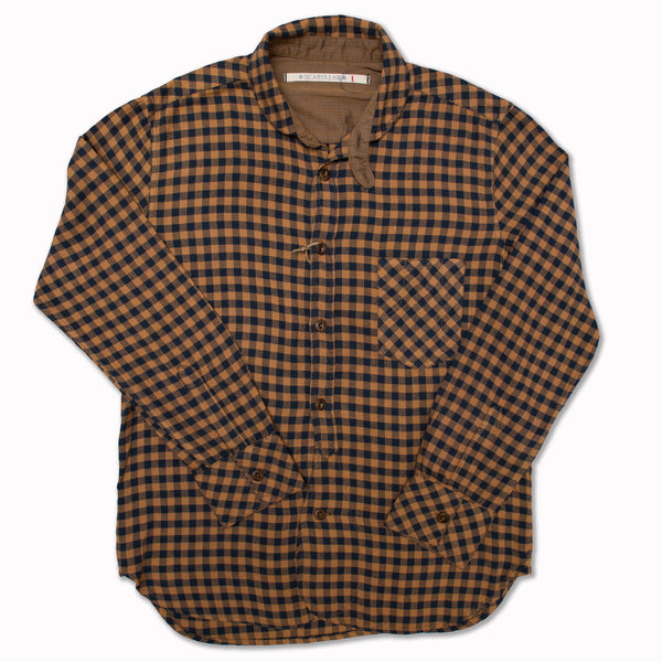 Cotton shirt in gold / indigo herringbone check