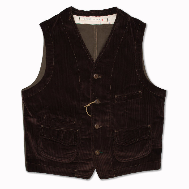 Vest in dark brown corduroy