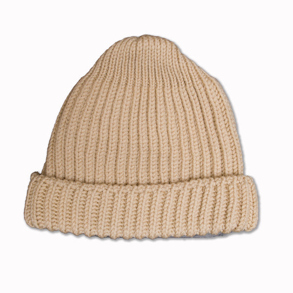 Beanie in Off-White Merino Wool