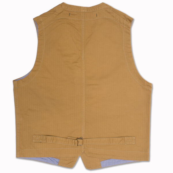 Vest in khaki herringbone