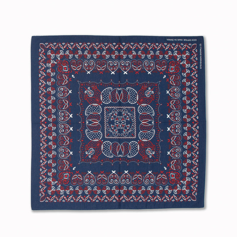 Bandanna Paisley in Indigo Red